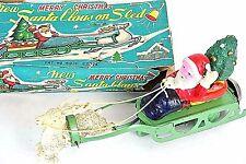 VTG JAPAN Santa Claus on Sleigh Windup Toy w/reindeer Celluloid Christmas *1010