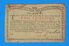 January 6, 1776 New York Water Works Two 2 Shillings Us Colonial Currency Note