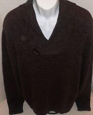 BANANA REPUBLIC Men's Eggplant Purple Tweed Wool Blend Sweater Size L