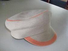 NWT Made Of Me Tan Orange News Paper Boy Cap Cabbie Hat Beanie Beret Retail $24