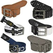 Mens Crosshatch PU Leather Belt Designer Embossed Metal Buckle Size M-2XL