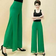 Lady Chiffon Long Flared Pants 2 Layers Split Bell Bottoms Wide Leg Trouser Thin