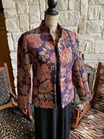 Coldwater Creek Purple Jacquard Blazer Jacket Red Gold Tapestry Zip Xs