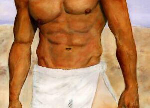 Orlando, painting, The Art of Esteban, 2/31/50, Free Ship, nude male