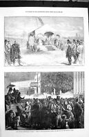 Old Antique Print 1872 Queen Duchess Sutherland Dunrobin Berlin Prussian 19th