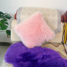 "1pcs Faux sheepskin Fur Square Pink Pillowcase Cushion 18""x18"" & fabric back US"