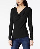 NWT INC International Concepts Cowl Neck Black T-Shirt Women's Size MRSP $59