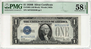 1928 B $1 SILVER CERTIFICATE NOTE AB BLOCK FR.1602 PMG CH ABOUT UNC 58 EPQ(253B)