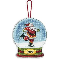 Cross Stitch Kit ~ Dimensions Santa Joy Snow Globe Christmas Ornament #70-08905
