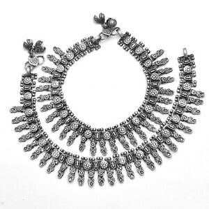 Indian Tribal Anklet Pair Of Payal Silver Antique Oxidised Wedding Jewelry