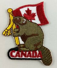 Beaver with Canada Canadian Flag Patch Badge Embroidered Iron On Applique
