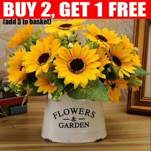 7 Heads Artificial Sunflowers Silk Flower Yellow Bouquet Home Garden Shop Decor-