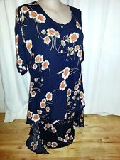 Passion Design inc short sleeve layer waterfall DRESS hand dye  M - L 14 16 NEW
