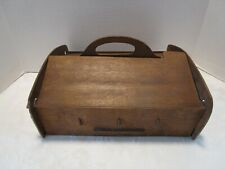 "Antique Wood ARTS & CRAFTS SEWING Box double Flip Top w/ pincushion 13 ½"" W Vtg"