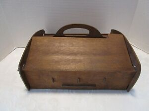 """Antique Wood ARTS & CRAFTS SEWING Box double Flip Top w/ pincushion 13 ½"""" W Vtg"""