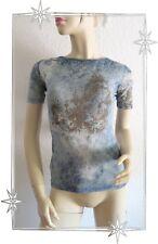 B - Haut T-shirt Fantaisie Bleu en Voile Legatte Jeans Taille 40 / 42