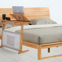 Bamboo Sofa Side Table Snack End Laptop Desk w/Storage Bag C-Shaped Home Office