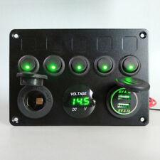 12V 24V 5 Gang Car ON-OFF Toggle Switch Panel Dual USB Socket Charger Voltmeter