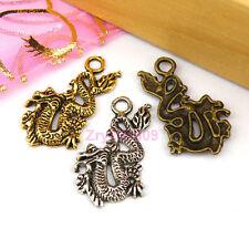 20Pcs Tibetan Silver,Antiqued Gold,Broze Dragon Charms Pendants DIY M1130