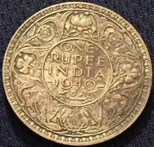 British INDIA 1940 One Rupee Silver Coin- Better Grade- Toned- Please See Pics