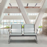 2-Seat  Airport Waiting Chair Clinic Bench Office Reception Room Salon Sliver