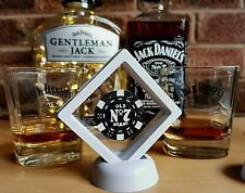 JACK DANIELS NO 7 FRAMED BLACK POKER CHIP IN SUSPENDED ANIMATION!COLLECTIBLE