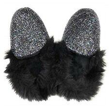 NWT Victoria's Secret Black Glitter House Glam Fur Slipper Bling Medium 7-8