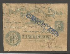 Chile - Nitrate Railways Company LTD;  5 Pesos 1891; VG; Locomotive