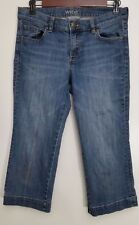 New York Company Jeans Size 6 Soho Skinny Crop Capri Medium Wash Distressed