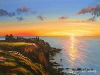 Pete Rumney Art Painting Sunrise Dunnottar Castle Fortress Stonehaven Scotland