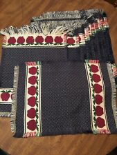 "Beautiful Set Of 12 Woven Cotton Placemats Navy With Apple Design 20""x 15"""