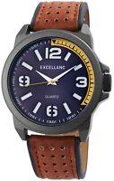 Excellanc Herrenuhr Blau Braun Gelb Analog Kunst-Leder Armbanduhr X2900102003
