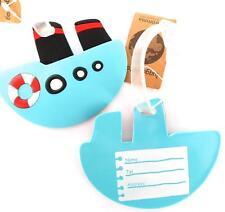 Child's Ship/Bateau Forme Luggage Tag/adresse étiquette turquoise Caoutchouc