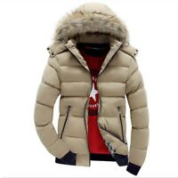 Men's Fur Collar Down Cotton Jacket Winter Warm Hooded Thicken Coat Padded Tops