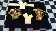 Euclid's 47th Proposition gilt Cufflink / Tieslide/ lapel pin set, Masonic craft