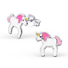 925 Sterling Silver Pink Unicorn Stud Earrings Girls Kids - Gift Boxed
