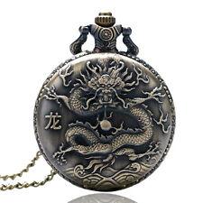 Pocket Watch Necklace Men Womens Gift Chinese Zodiac Antique Style Dragon Quartz