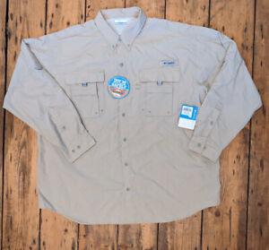 Mens COLUMBIA Bahama II Shirt XXL PFG UPF30 Fossil BNWT
