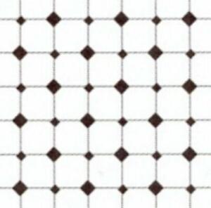 Melody Jane Dolls House Miniature Black & White Tile Effect Flooring 1:24 Paper
