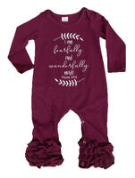 Kids Baby Girls Ruffled Boutique Romper Pajamas Floral Outfit Christmas Costume