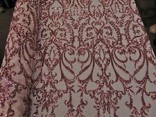 SWEETHEART Damask 4-Way Stretch Mesh Lace PEACH Tiny Sequin Fabric  56""