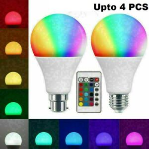 LED Wireless Light E26 Bulb Color Changing with Remote Dimmable 60W 806 Lumens