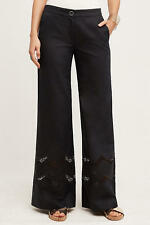 Anthropologie by  Elevenses Black Openwork Wide-Legs Pants Size 16 NWT $ 148