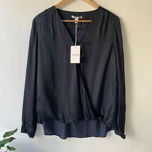 COUNTRY ROAD - SZ M,XL satin wrap top ink blue shirt 12,16 [CR LOVE]