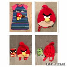 Sz 10-12 Girls Angry Birds Nightgown Book Red Plush Backpack EUC