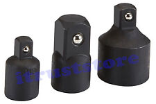 """3PC 3/8"""" 3/4 TO 1/2"""" INCH DR BLACK IMPACT SOCKET ADAPTER REDUCER WRENCH TOOL SET"""