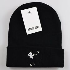 Pulp Fiction Dance Embroidered Roll Up Black Beanie Hat by Actual Fact