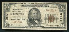1929 $50 COMMERCIAL NATIONAL BANK OF SHREVEPORT, LA NATIONAL CURRENCY CH. #3600