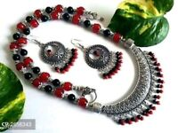Indian Antique Oxidized Beaded Choker Jewelry Necklace with earrings