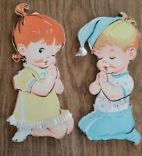 Vintage 1950s Praying Boy and Girl Cardboard Wall Hanging nursery Pictures